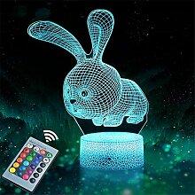 Veilleuse lapin 3D pour enfants, avec 16 couleurs