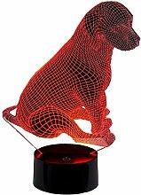 Veilleuse LED 3D en forme de chien avec 16