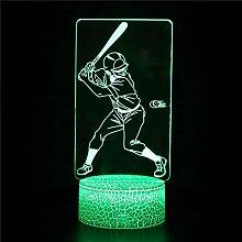 Veilleuse LED 3D en forme de joueur de baseball
