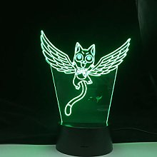 Veilleuse LED 3D Fairy Tail Chat Happy Fly pour