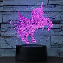 Veilleuse LED 3D Licorne avec 16 changements de