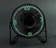 Ventilateur de Bureau avec Horloge à LED