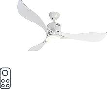 Ventilateur de plafond blanc avec LED et