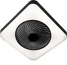 Ventilateur de plafond carré noir avec LED