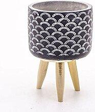 Veramaya Pied moules Motif Pot en béton Noir