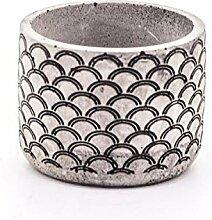 Veramaya Pot en béton Gris à Motifs de moules De
