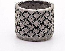 Veramaya Pot sukulent en béton Gris à Motifs de