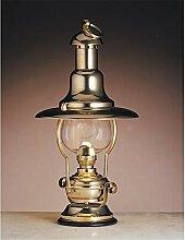 Véritable lampe à pétrole en laiton et verre
