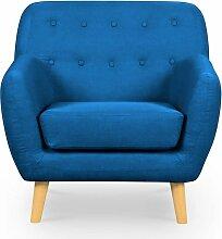 VERNER - Fauteuil scandinave en tissu bleu