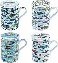Verre cadeau Mug avec filtre x 4 Sardines 11 cm