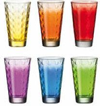 Verre long drink Optic / Set 6 verres multicolores