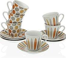 Versa Lot de 6 tasses à café ava, service de
