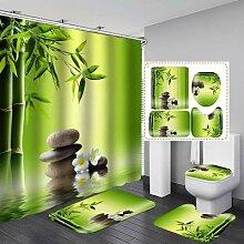 Vert bambou Polyester tissu rideau de douche