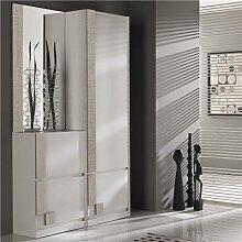 Vestiaire d'entrée blanc et couleur bois