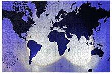 vhg8dweh Puzzles 1000 pièces,Carte du Monde avec