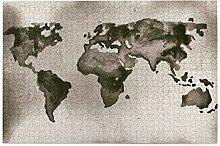 vhg8dweh Puzzles 1000 pièces,Carte du Monde Gris