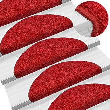vidaXL 15 pcs Tapis d'escalier Rouge 65 x 25 cm