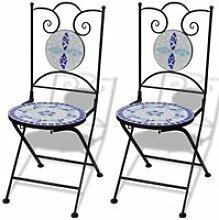 Vidaxl 2 chaises de bistrot en mosaïque bleue /