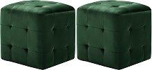 vidaXL 2 pcs Tables de chevet Vert 30x30x30 cm