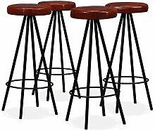 vidaXL 4X Tabouret de Bar Cuir Véritable et Acier