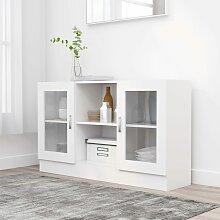 vidaXL Armoire à vitrine Blanc 120x30,5x70 cm