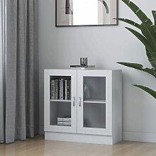vidaXL Armoire à vitrine Blanc 82,5x30,5x80 cm