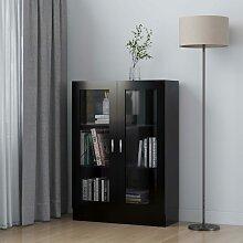 vidaXL Armoire à vitrine Noir 82,5x30,5x115 cm