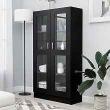 vidaXL Armoire à vitrine Noir 82,5x30,5x150 cm