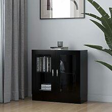 vidaXL Armoire à vitrine Noir 82,5x30,5x80 cm