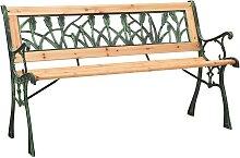 vidaXL Banc de jardin 122 cm Fonte et bois de