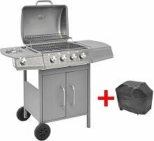 VidaXL Barbecue a gaz 4 + 1 zone de cuisson Argente