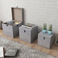 vidaXL Boîte de rangement carrée 3 pcs Gris MDF