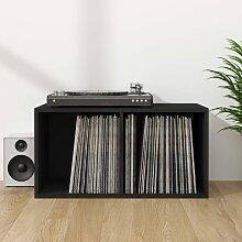 vidaXL Boîte de rangement de vinyles Noir