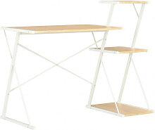 vidaXL Bureau avec étagère Blanc et chêne