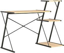 vidaXL Bureau avec étagère Noir et chêne