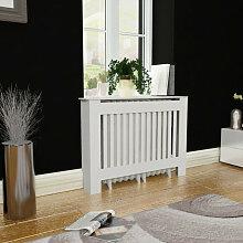 vidaXL Cache-radiateur 112 cm MDF Blanc