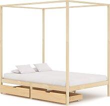 vidaXL Cadre de lit à baldaquin avec 2 tiroirs