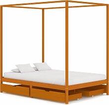 vidaXL Cadre de lit à baldaquin avec 4 tiroirs