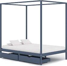 vidaXL Cadre de lit à baldaquin et 2 tiroirs Gris