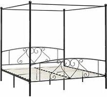 Vidaxl cadre de lit à baldaquin noir métal 200 x