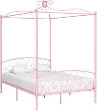 vidaXL Cadre de lit à baldaquin Rose Métal 120 x