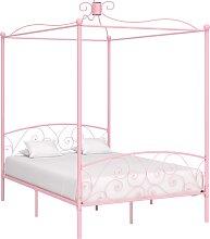 vidaXL Cadre de lit à baldaquin Rose Métal 140 x