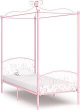 vidaXL Cadre de lit à baldaquin Rose Métal 90 x