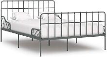 vidaXL Cadre de lit et sommier à lattes Gris