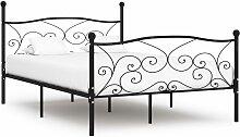vidaXL Cadre de lit et sommier à lattes Noir