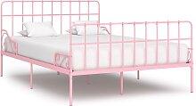 vidaXL Cadre de lit et sommier à lattes Rose