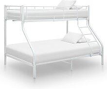 vidaXL Cadre de lit superposé Blanc Métal