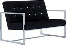 Vidaxl canapé 2 places avec accoudoirs noir