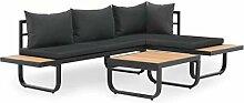 vidaXL Canapé d'angle avec Table et Coussins