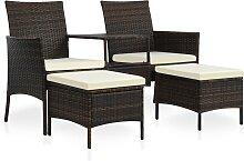 vidaXL Canapé de jardin table à thé et